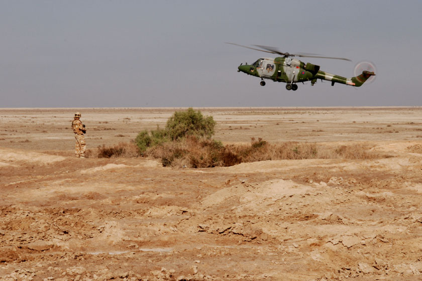 A British army Lynx helicopter prepares to land in Basra, Iraq, 17th 17th November 2008. (DoD photo by Sgt. Gustavo Olgiati, U.S. Army/Released)