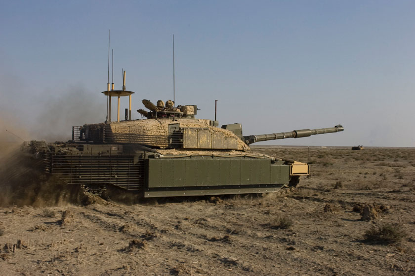A British Royal Scots Dragon Guards, Challenger II, main battle tank prepares to fire its main gun on a target during a training exercise 17th November 2008, in Basra, Iraq.  (U.S. Army photo by Sgt. Gustavo Olgiati/Released)