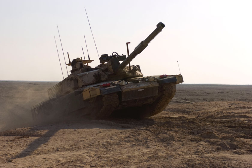A British Royal Scots Dragon Guards, Challenger II, main battle tank climbs an obstacle during a training exercise 17th November 2008, in Basra, Iraq.  (U.S. Army photo by Sgt. Gustavo Olgiati/Released)