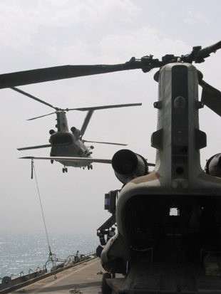 RAF Chinook helicopters of 18 Squadron landing onboard HMS Ark Royal off the Kuwaiti coast, 12th March 2003. Photograph copyright Tim Ripley