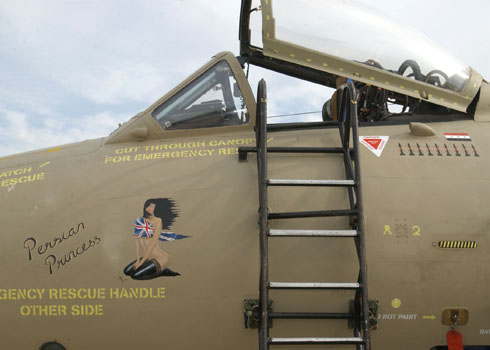 Canberra reconnaissance aircraft at Azraq Airbase Jordan, March 2003, including aircraft nose art. Photo: 39 Squadron Association