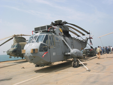 Westland Sea King AEW Mk 7 helicopter of 849 Naval Air Squadron on HMS Ark Royal in northern Arabian Gulf March 2003. Photograph  copyright Tim Ripley