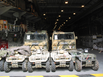 Vehicles in hold. Photograph copyright Tim Ripley