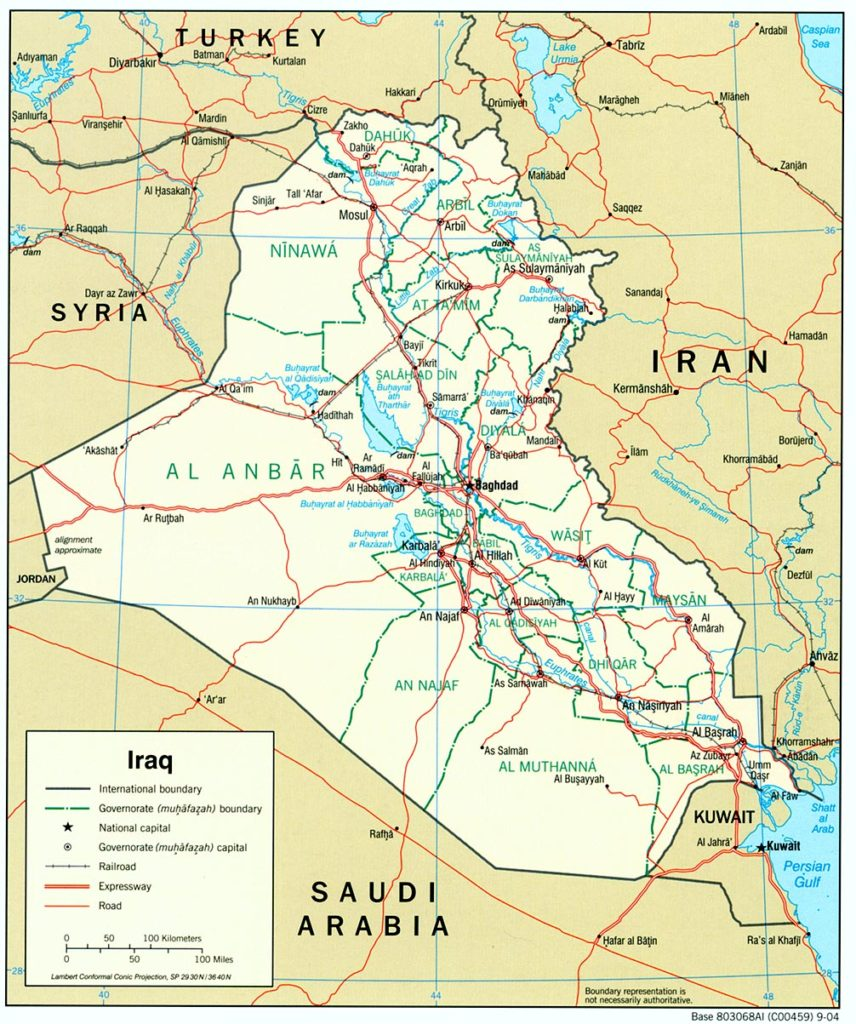 Iraq Country Map (source US CIA)